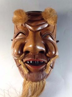 Wooden Noh Okina mask ,signed - Japan - Mid 20th century