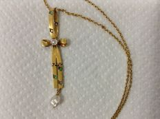 Necklace yellow gold 19,6k (Portugal), cross with emeralds and diamonds