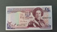 Jersey - 9 currency notes - 5 x 1 pound, 3 x 5 pounds, 1 x 10 pounds
