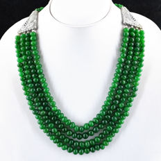 Necklace with 4 strands of natural Emerald, 699 ct