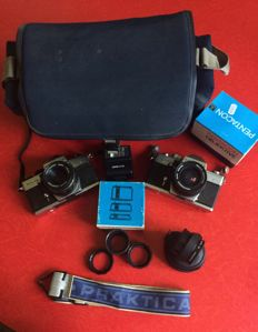 Excellent Praktica MTL Outfit: 2 x Bodies, 2 X 50mm-1.8 lenses 1 x 29mm-2.8 lens and lots of accessories