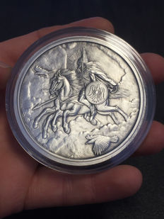 USA - Nordic creatures - 5 oz - SLEIPNIR 2016 - antique silver finish - with certificate - edition of only 500 pieces - 999 silver