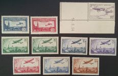 France 1930-36 – Aerial post, 2 series, selection of 10 stamps - Yvert n° 5-7 and 8-13 incl. 8a