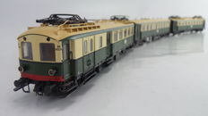 "Roco H0 - 63142 - Limited electric 3-part passenger train set ""Blokkendoos Mat'24"" 2nd/3rd Class of the NS, in the original crème/green livery with interior lighting"
