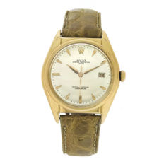 ROLEX 5030 Oyster Perpetual Date - Ovettone Big Bubble back 18K - Men's Watch - 1940s