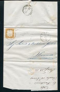 Kingdom of Italy - 1862 - Victor Emmanuel II - c. 10 bistre, on letter from Avola to Siracusa - Sassone no. 1f.