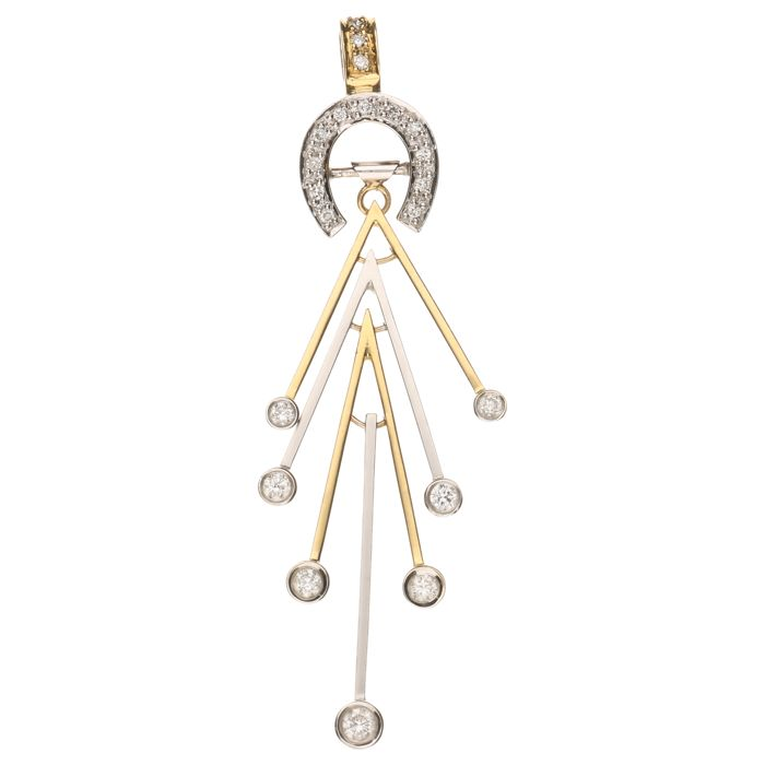 18 kt Bi-colour gold fantasy pendant set with brilliant cut diamonds with a total of 0.37 ct - Pendant length 6 cm