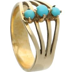 14k Yellow gold ring set with cabochon cut Turquoise - Inner size: 15.25 mm