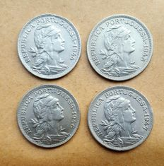 Portuguese Republic – 4 coin lot– 50 Centavos 1944/1945/1946/1947 . Superior Condition