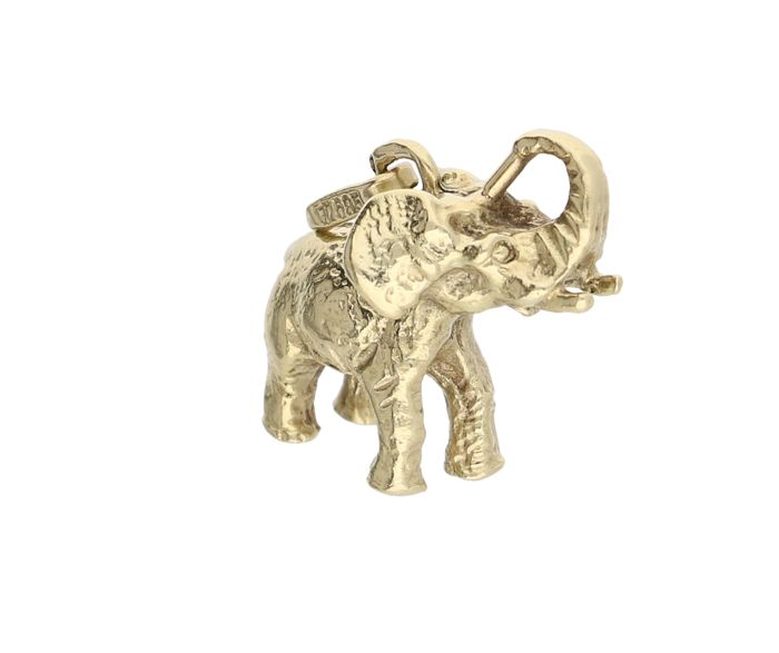 14 kt Yellow gold pendant in the shape of an elephant – Length x Width: 2 x 1.8 cm