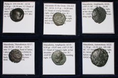 Greek Antiquity - Lot of 6 Greek Coins - Thessalonica, Autonomous Macedonia, Amphipolis, Alexander III the Great, Philip II - All Classified