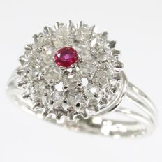 18K vintage cocktail ring from the sixties with 18 rose cut diamonds and a natural ruby