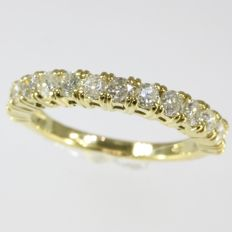 inline yellow gold engagement ring with 14 brilliants ±1.26ct - 1970