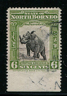 North Borneo 1909/1923 – 6 cents,  black and olive-green, Stanley Gibbons 167, error imperforated at bottom.