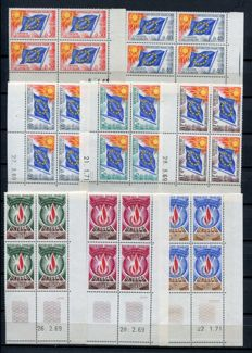 France 1947 to 1993 – Collection of Dated corners, Tax stamps and Service stamps