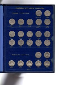 Canada - Complete Collection of 53 Five Cent coins - 1922/1965