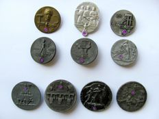 """Third Reich: 6 badges """"1 May Labour Day"""" 1934-39 + 4 badges for the Nuremberg Rally 1936/37/38/39"""