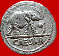 Roman Republic - Julius Caesar silver denarius (3,43 g. 18 mm.), 49-48 B.C. Military mint traveling with legions. CAESAR/ Elephant.