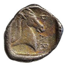 Antique Greece - Thessalia, PHARSALOS (440-425 BC) AR hemidrachm, Athena, horse head