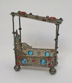 Miniature four-poster bed, filigree silver, set with cut glass stones, possibly 18th century
