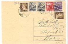 Republic 1948 – Mixed Kingdom/Republic Lieutenancy stamps with 12 Lira value on postcard from Martina Franca to Bari