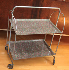 Bremshey - mid-century 'flower power' Dinett foldable serving trolley