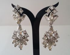 Vintage PENNINO Silver Tone Mid Century Diamanté Dangle Earrings