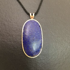 14 kt yellow gold pendant with lapis lazuli. Vintage, 1970s.