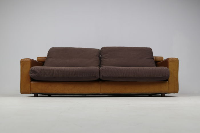 Roche bobois u2013 vintage cognac leather design sofa catawiki