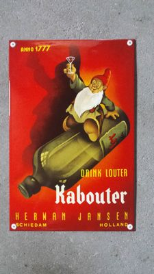Sfeervol emaille bord: Drink louter kabouter