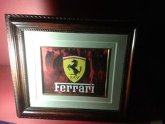 2x large, FERRARI logo in Vintage frame. FERRARI Advertisement. .