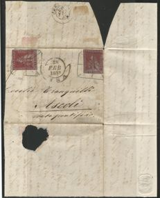 Tuscany 1859: 1 Crazia, purple carmine, two specimens on letter from Pisa to Ascoli