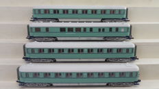 "Roco H0 - 45761/45762/45760/45760 - 4 Express train passenger/dining carriages - 1st/2nd/3rd Class ""Plan-D Bolkoppen"" of the NS, in turquoise livery"