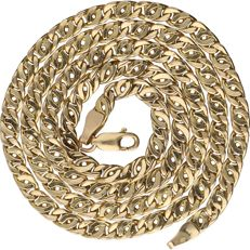Yellow gold curb link necklace, 14 kt – Length: 51 cm
