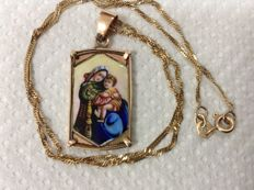 Pink gold necklace 14k with pendant icon Virgin Mary with Child, painting by enamel Gold roze 14k, coming from Europe 1900 - 1940,