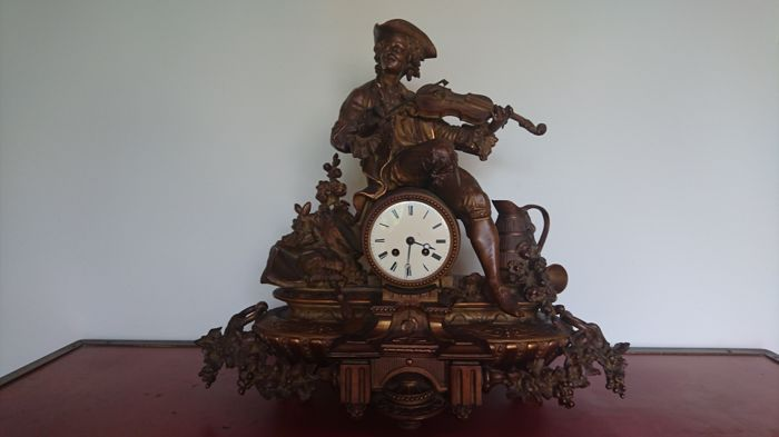 French bronze patnated Zamak pendulum clock - 1870-1890