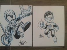2 x Original Mini Marvel Sketches by Chris Giarrusso - Spider-man And Green Lantern