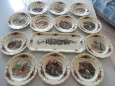 """OBERNAI"" service - very large and beautiful rectangular dish, Sarreguemines  pottery and 12 dessert plates"