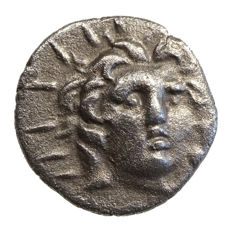 Ancient Greece - Karien - RHODOS (~125-88 BC) AR Hemidrachm, Helios, Rose