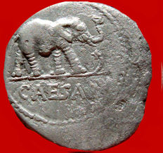 Roman Republic - Julius Caesar silver denarius (3,32 g. 19 mm.), 49-48 B.C. Military mint traveling with legions. CAESAR/ Elephant.