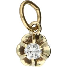 14 kt. Yellow gold pendant set with 1 diamond of approx. 0.1 ct, set in a prong setting - 12 mm x 6 mm