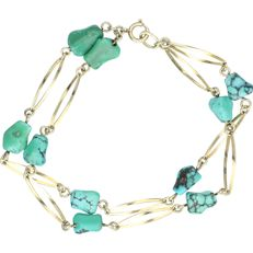 14K Yellow gold 2-strand bracelet set with Turquoise - Length: 21.3 cm