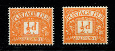 Great Britain, Queen Elisabeth II 1961 – Halfpenny bright orange, Stanley Gibbons D56var. Error Double Print