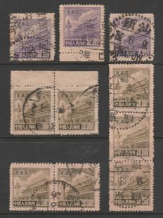 China 1951 - Tien An Men selection $20.000 & $50.000 on stockcard - Most with Swatow Cancel - Yang R5 Sc#96&98 Mi.101&103