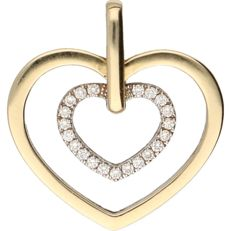 14 kt Bi-colour pendant in the shape of a heart, set with 21 diamonds of 0.11 ct in total – 20 mm x 19 mm