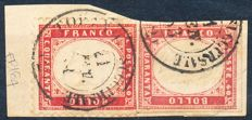 Sardinia, 1863 – 40 cent, and Kingdom of Italy 40 cent, perforated, mixed franking with twin values on fragment cancelled in Turin