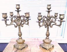 A pair of richly decorated bronze or brass candlesticks -Belgium - Approx 1960