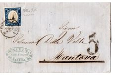 Sardinia 1855 / 62 – 9 letters with 20 cent stamps with different colours and tones.