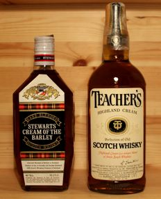 2 bottles -  Teacher's, 1970s, Highland Cream Scotch Whisky & Stewart's Cream of the Barley, 1970s, Scotch Whisky- 2x 75cl