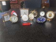 collection of alarm clocks, desk clocks 1960s/1970s, various brands